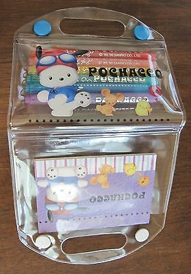 rare new 1999 Sanrio Pochacco stationery set 6 pens 25 sheet notebook PVC case