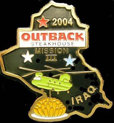 J0474B Outback Steakhouse hat lapel pin Iraq 2004 Mission III Black