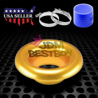 """3.5"""" Gold Short Ram Air Intake Turbo Horn Aluminum Velocity Stack Silicone Hose"""