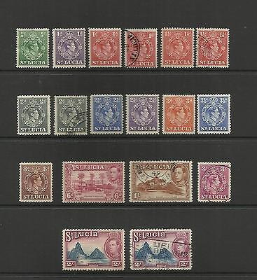 St Lucia ~ 1938-48 King George Vi  Definitives (Part Set)