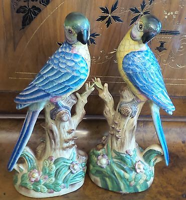 Two Vintage Porcelain Handpainted Parrot Figurines By Andrea Sadek