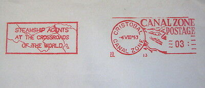 1953 Cristobal, Canal Zone, postage meter #13 stamp cover, FIRST DAY COVER OF CZ