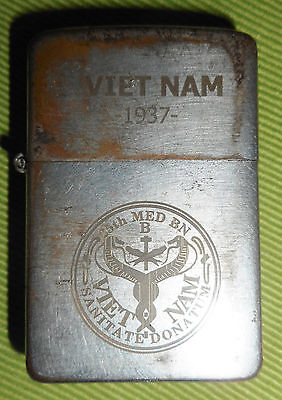 25th MEDICAL BN - CU CHI - Vietnam War - RARE 1937, ORIGINAL ZIPPO LIGHTER, 8408