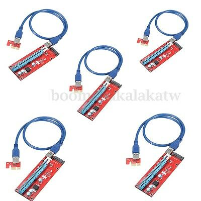 5x PCI-E PCI Express 1x To 16x Adapter Riser Card Extension Powered Cable USB3.0