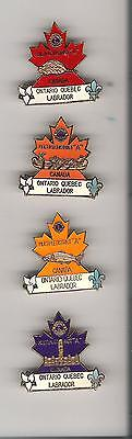 L8)  Lot of 4 Lions pins - District A -  Ontario Quebec - 4 different colours