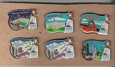 L6) United States Salt Lake City 2002 Olympic Games Torch Relay - Lot of 6 Pins