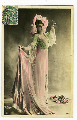 c 1907 French stage Mlle KARA Beauty theater tinted photo postcard