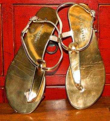 VINTAGE Ralph Lauren Resort Gold Glam Breezy Designer Sandals Size 2 EUR 32.5