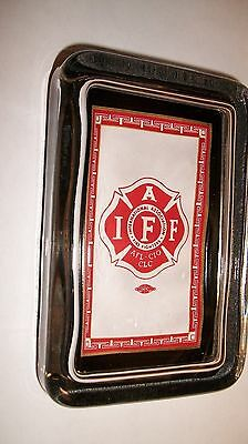 Firefighter Firemen Advertising IAFF Logo  AFL CIO Union Sign Glass Paperweight