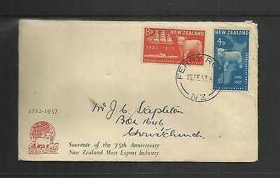 New Zealand  Fdc First Day Cover ~ 1957 Meat Export Industry