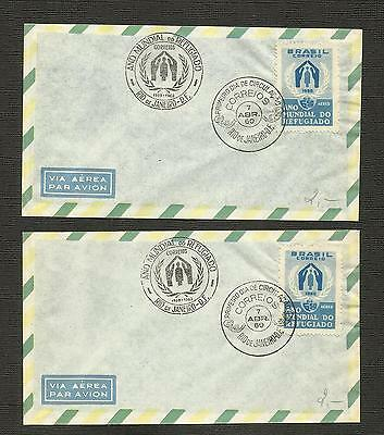 Brazil ~ 1960 World Refugee Year Covers (2) Fdi