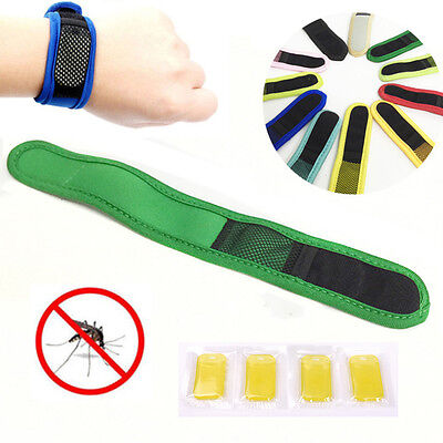Anti Mosquito Bug Insect Repellent Nylon Bracelet Wrist Band Repellent 4 Refills