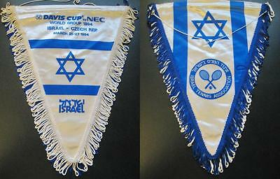 Tennis Federation Of Israel Czech Rep. Devis Cup 94 Official Pennant 33X24Cm Old