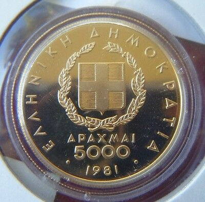 1981 Greece 5000 Drachmae 12.5g 90/100 Gold Coin - in capsule with certificate