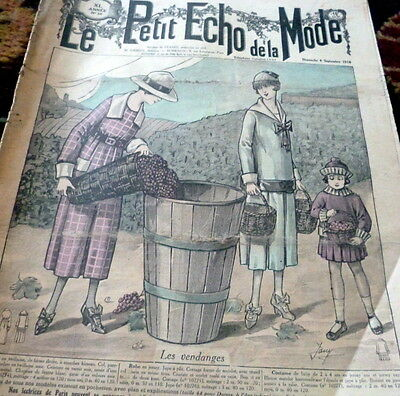 *VTG 1910s PARIS FASHION & SEWING PATTERN CATALOG LE PETIT ECHO de la MODE 1918