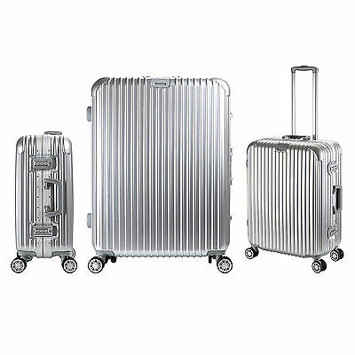 Luxury Aluminum Frame Travel Luggage 4 Wheels Cabin Trolley Suitcase ,Silver
