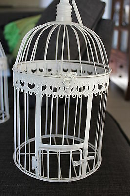 Decorative Ivory Birdcage With Hook And Opening Lid - Perfect Condition