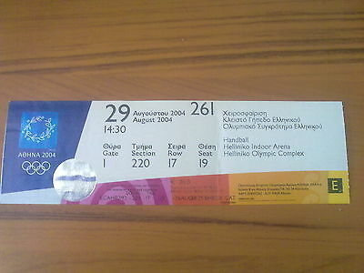 Ticket Olympic Games ATHENS Greece 29.08.2004 Handball