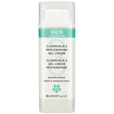 REN Clean Skincare Face Clear Calm 3 Replenishing Gel Cream For Blemish Prone Sk