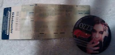 Ozzy Osbourne  concert ticket stub and button ticket not ripped whole still