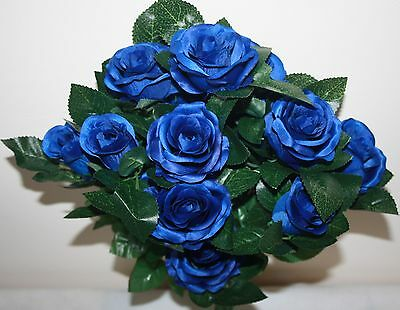 18 Head Large  Artificial Open Roses - Royal Blue