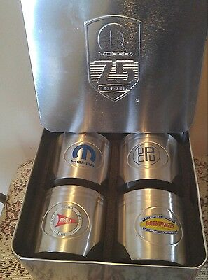 Set of 4 MOPAR Dodge Plymouth Chrysler 75th anniversary stainless drink holders