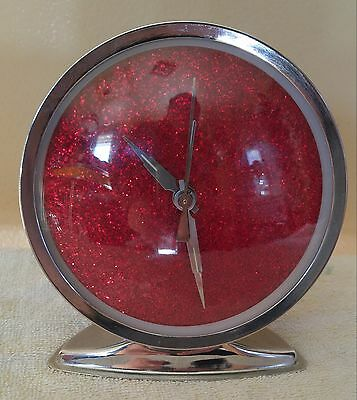 Retro space age Alarm Clock  CHROME and red Space Age RETRO