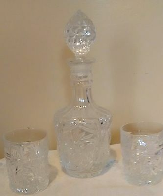 BEAUTIFUL Pinwheel Vntage 60s 70s Crystal Cut Glass Decanter & Stopper heavy # 6
