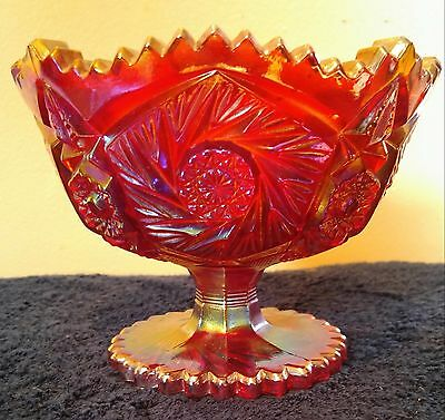 L. E Smith Red Carnival Glass Sawtooth, Pinwheel Pedestal Compote Dish