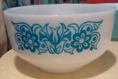 "Vintage Federal Milk Glass  Blue & White 8"" Mixing Bowl # 1"