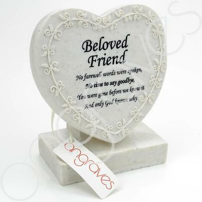 Beloved Friend Floral Textured Heart Graveside Memorial Ornament Plaque With Ver