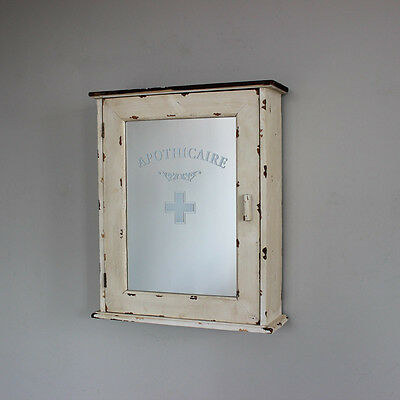 Cream wood bathroom wall apothicaire cabinet shabby french chic mirror storage