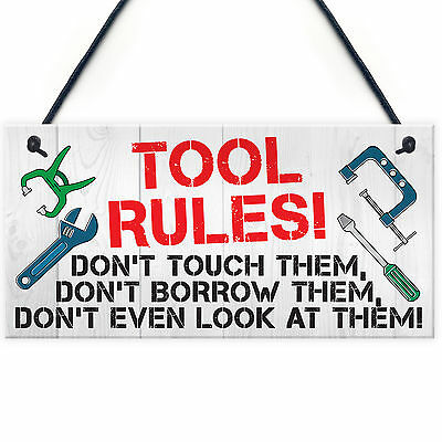 Tool Rules Man Cave Garage Shed Dad Grandad Hanging Plaque Garden Gift Sign