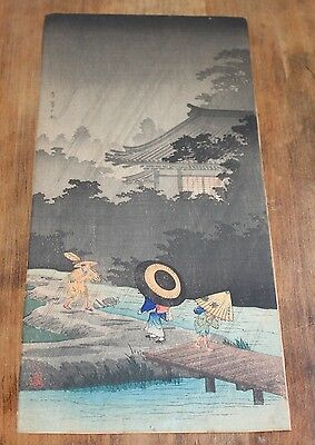 Vintage Original SHOTEI Woodblock Print SHOWER AT TERASHIMA 1936 Takahashi Japan