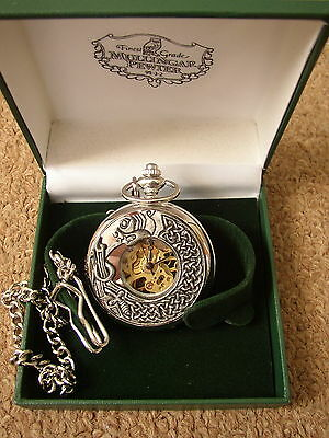 Book of Kells Dragon mechanical Pocket Watch, Mullingar Pewter, made in Ireland
