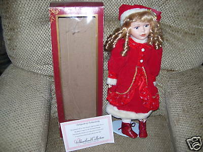 Exclusive Handcrafted Porcelain Doll w stand = HTF =NIP