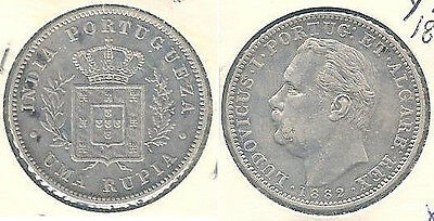 1882 Portuguese India 1 Rupia Silver Coin in Almost Uncirculated Condition ~