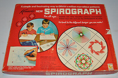 vintage SPIROGRAPH Playset #401 vintage TOY 1969 Red Tray, 22 reels