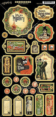 Graphic45 MASTER DETECTIVE Chipboard (27) PCS scrapbooking SHERLOCK MYSTERY