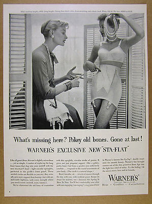 1955 Warner's STA-FLAT Girdle Bra 2 women photo vintage print Ad