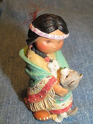 Friends of the Feather Dances with Wolf Figurine Enesco 1994 Karen Hahn MINT