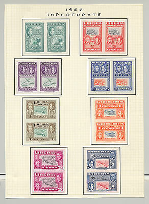 Liberia #332-337, C68-C68 Maps Ships 8v Imperf Pairs Hinged on Page