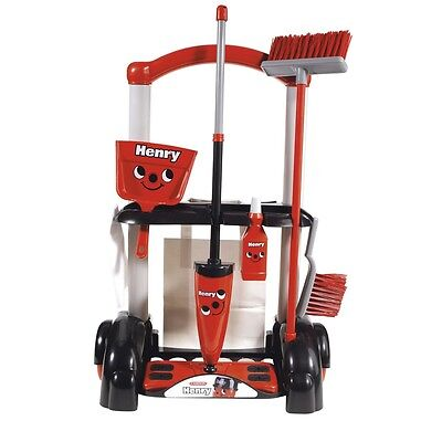 Henry Cleaning Trolley Toy Set - Casdon Accessories Brush Pan Pretend