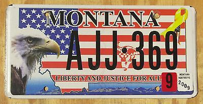 MONTANA EAGLE LIBERTY FLAG specialty license plate  2009  AJJ 369