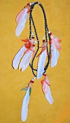 Tribal Bora Native Seed Beads Macaw Feather Ayahuasca Ceremony Necklace Colombia