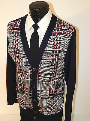 Vtg 60's Men ATOMIC Black Red MaD PLAID Knit CARDIGAN MoD BEATNIK Sweater L