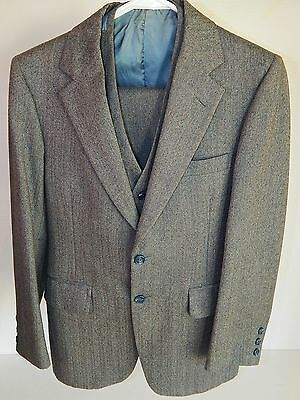 Vtg Lebow Bros Men STEEL Blue HERRINGBONE 3 pc Wool SLIM FIT Suit & Vest 34 R 29