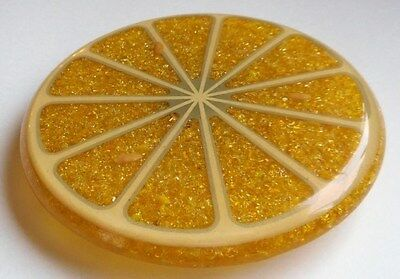 Vintage Wondermold Resin & Glass Lemon Slice Trivet Lucite Acrylic Hand Made USA