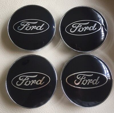 Set of 60mm Black FORD ALLOY WHEELS HUB CENTRE CAPS for Ford Fiesta Focus Cars