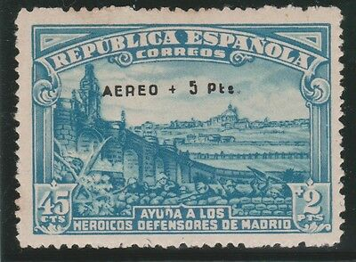 1938 Defensa Madrid Habilitado Aéreo**. Certificado Bolaffi. Imprescindible Leer